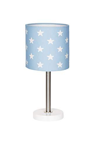 Nachttischlampe Kinderzimmer Tischleuchte mit Sternen in blau Weiss, 15 x 15 x 35 cm, E27, 60 Watt, 230Volt