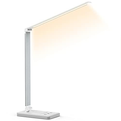 LED-Schreibtischlampe, USB Charge Eye-Caring LED-Tischlampe mit Dimmbar, 5 Farbmodi und 10 Helligkeitsstufen, LED-Lampe für Studium, Lesen, Büro und SchlafzimmerLED-Lampe