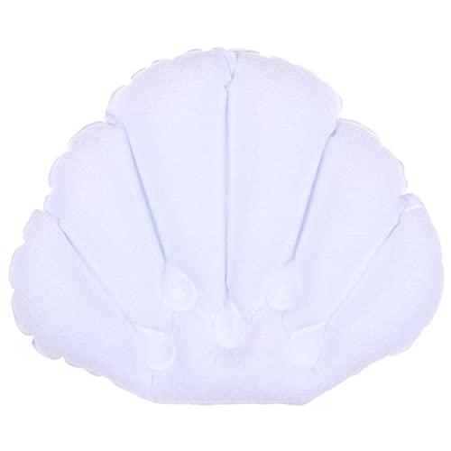 HJJACS 1PC 소프트 스파 넥 목욕 베개 흡입 컵 풍선 테리 천 팬 모양의 목 지원 베개 욕조 쿠션