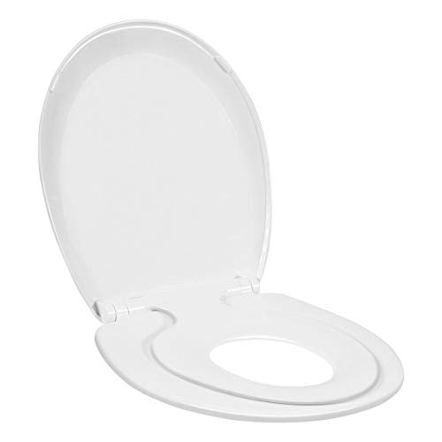Tangkula Toilet Seat with Lid, Extra Build in Potty Training Child Seat, Slow Close, Round, Plastic, White