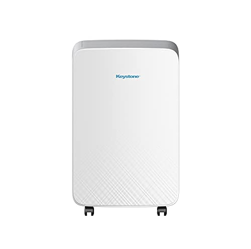 KEYSTONE 180-Sq M Series 12,000 BTU Portable Air Conditioner | Turbo 3 Fan Speeds | Follow Me Remote Control | Sleep Mode | Dehumidifier | Wheels | AC for Rooms up to 180 Sq. Ft | KSTAP12MA, White