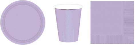 Party Supplies Disposable Dinnerware Set Serves 20: Includes 9 Inch Plates, Luncheon Napkins, and Cups (Lavender)