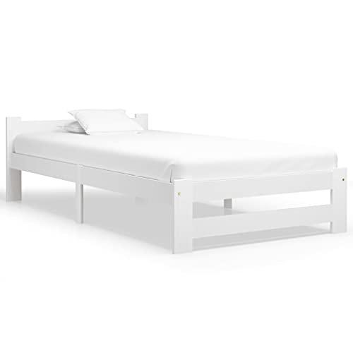 vidaXL Madera Maciza de Pino Estructura de Cama Casa Dormitorio Duradera Robusta Mobiliario Cómodo Moderna Individual Blanco 90x200 cm