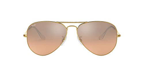Gafas de sol de Ray-Ban Aviator color plata con cristal rosa marrón de espejo, RB3025 001-3E 55 RB3025 001-3E 55 Gold / Rose Gold 58 mm