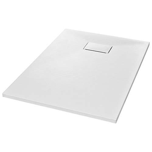 vidaXL Bac de Douche Receveur de Douche Rectangulaire Salle de Bain Maison Intérieur Trou de Drain Standard de 9 cm SMC Blanc 100x70 cm