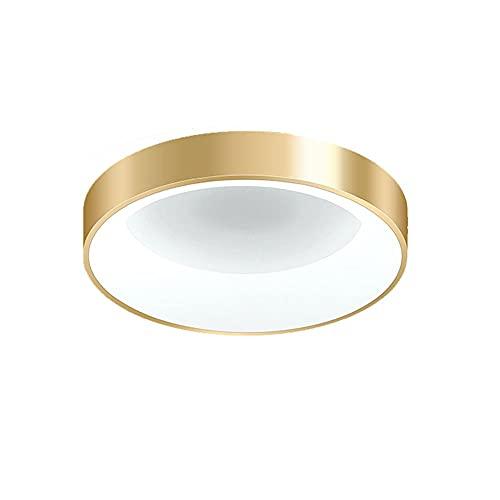 LPFWSK Luz blanca (6000K) Luz de techo de montaje enrojecimiento, lámparas de techo redondas doradas, accesorios de iluminación de estilo simple, diseño moderno de diseño de energía, lámparas de ahorr