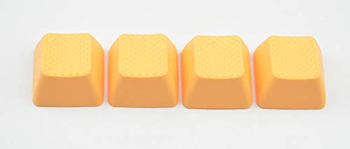 Blank TPR Rubber Gaming Keycaps 4 Keys Set 1u for Cherry MX Mechanical Keyboards Compatible OEM (R0, Neon Orange)