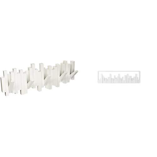 Umbra 318211-660 Perchero decorativo de pared Sticks, Blanco + 318190-660 Percha 5...