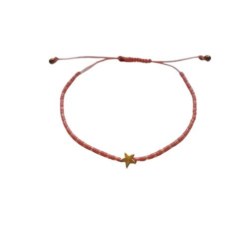 DKARY Pulsera Estrella Oro de Hematita con Cristales Miyuki Autoajustable