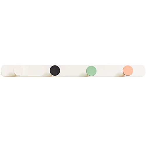 MaxTom 4 Ganchos de Pared de Lunares Ganchos de Hierro Modernos Ganchos de Pared montados en Perchas Soportes de Pared Que ahorran Espacio (Color : Blanco, Size : 36×3×3cm)