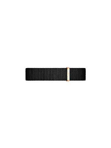 Daniel Wellington Petite Cornwall Cinturino Donna, 12mm, in NATO, Nero/Oro Rosato
