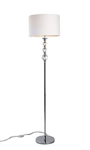 anTes interieur Stehleuchte Pandora weiß mit 15 Watt LED-Leuchtmittel/Stoffschirm/Metall verchromt/37 cm Durchmesser/160 cm hoch/Wohnzimmer Stehlampe Standlampe Standleuchte
