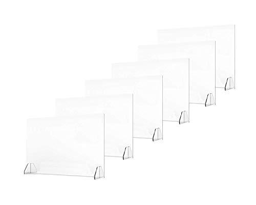 6 Pack Plexiglass Shield for Counter, Plastic Sneeze Guard for Desk, Protective Clear Plexi glass Screen for Desk, Reception Countertops, Restaurant | 32 x 24 inches