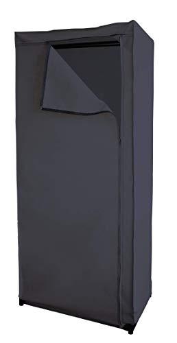 Box and Beyond Armoire de Rangement Dressing Pliable en Tissu avec Barre de penderie - Gris Anthracite - Métal et polypropylène -160x50x75cm