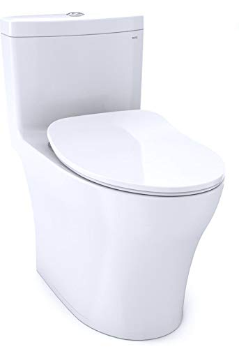 Toto Aquia IV One-Piece Elongated Dual Flush 1.28 and 0.8 GPF Universal Height, WASHLET+ Ready Toilet with CEFIONTECT, Cotton White (MS646234CEMFG#01)