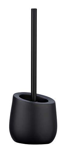 WENKO WC-Garnitur Badi - WC-Bürstenhalter mit Silikonborsten und Randreiniger, Keramik, 13,5 x 38 x 13,5 cm, schwarz