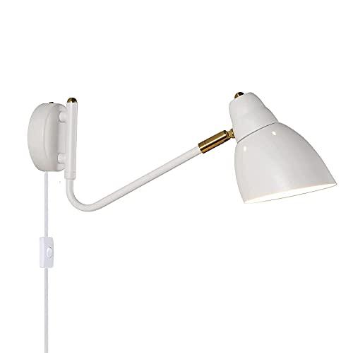 Lámpara de pared interior retro con interruptor y enchufe, lámpara de pared Lámparas de lectura de pared para sala de estar, brazo largo de metal ajustable con cable, lámpara de noche para dormitorio