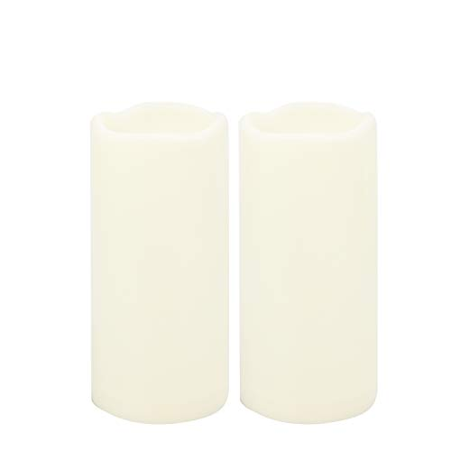 Outdoor Waterproof Flameless LED Pillar Candles with Timer Battery Operated Plastic Large Decorative Electric Candle Lights for Halloween Christmas Wedding Party Centerpiece Decoration 2 Pack 3'x7'