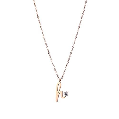 SeniorMar-UK H Buchstaben Titanstahl Halskette Weibliche Accessoires Schlüsselbeinkette Persönlichkeit Modeaccessoires Gold