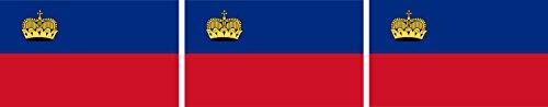 Etaia 2,5x4 cm - 3X Mini Aufkleber Fahne/Flagge vom Fürstentum Liechtenstein kleine Sticker Auto Fahrrad Motorrad Bike Europa Länder