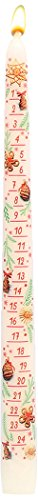 Ebersbacher Wachswaren Adventskalenderkerze lackiert weiß, 29 cm