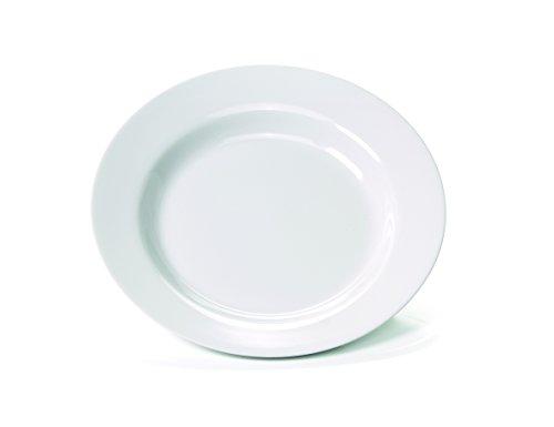 4 x bruchfester weißer Suppen-Teller tief Ø 23 cm, Camping-Teller, Camping-Geschirr aus hochwertigem Melamin Kunststoff