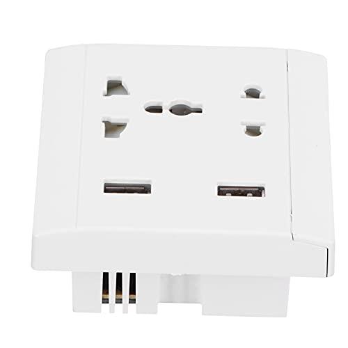 13A Enchufe de pared multifuncional, tomacorriente con 2 puertos USB, extensor de tomacorriente eléctrico Mejoras para el hogar 110 / 220V