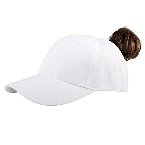 KELOYI Gorra De Béisbol para Hombre Ajustable Gorra Cola De Caballo para Retro Gorra Béisbol Mujer Blanco