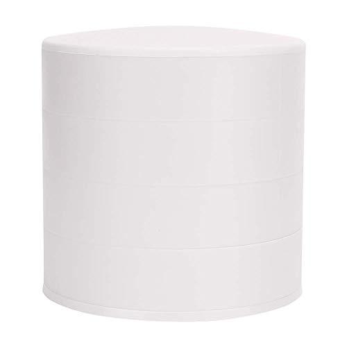 Almacenamiento de joyas de diseño giratorio redondo de 360 °, joyero de 4 capas, para aretes, anillos, collares, pulseras (blanco)