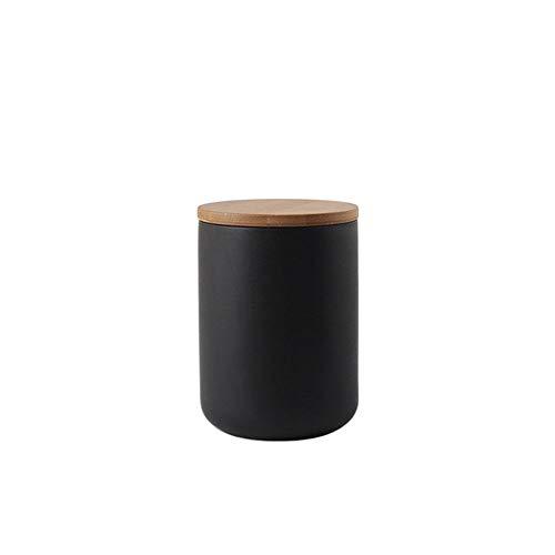 Popowbe Boîte à café hermétique en céramique avec couvercle en bambou scellé pour la cuisine, le café, le thé, noir - 800 ml