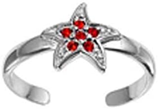 Sterling Silver Red CZ Starfish Toe Ring TOSS-119