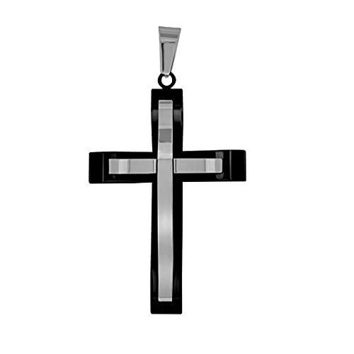Collar con colgante de cruz negra de dos capas para hombre, de acero inoxidable, mide 34,6 mm de ancho, para regalo de joyería para hombres