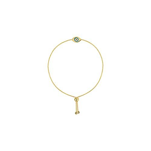 Pulsera de oro amarillo de 14 quilates con esmalte turquesa y mal de ojo de silicona Cl 9.50 pulgadas joyas regalos para mujeres