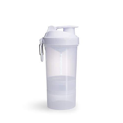 Smarsthake Original2GO Pure White - Protein Shaker mit Pulverfach, Sportflasche spülmaschinenfest, bpa frei