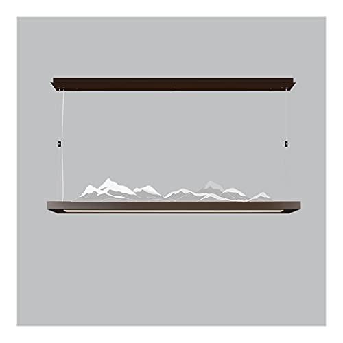 Lámpara de Restaurante Elegante China, lámpara de luz del Iceberg de acrílico Simple, lámpara de Techo Colgante 3D, luz del Paisaje Zen (Color : Brown, Type : 55.9'+52W+30W)