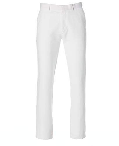 Cubavera Men's Easy Care Linen Blend Flat Front Pant, Bright White, 32x32