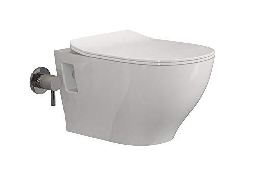 Aqua Bagno Dusch-WC Set Luca 2.0 Taharet Toilette inkl. WC-Sitz aus Duroplast mit Softclose-Funktion Bidet-Funktion Hänge-WC