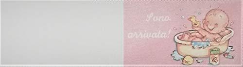 Cartotecnica Italiana 100 Stück Kärtchen Gastgeschenk Geburt Taufe Weiblich Format A4