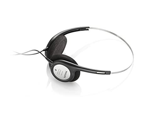 Philips ACC2310 Fußschalter, Fußpedal für Digitale Diktiersysteme von Philips, 3 Pedale, anthrazit & Stereo Kopfhörer f. Diktier- und Wiedergabegeräte mit 3,5mm Klinkenstcker, schwarz/Silber