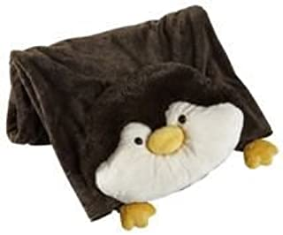 The Original My Pillow Pets Penguin Blanket (Black and White)