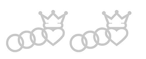 Ringe King Crown Aufkleber passt zu Audi Auto Car Scheiben Heckscheibe Sticker / Plus Schlüsselringanhänger Kokosnuss-Schale / Racing Tuning A1 A3 A5 A6 TT Q3 Q5 Quattro (4 Aufkleber 10x6.8cm)