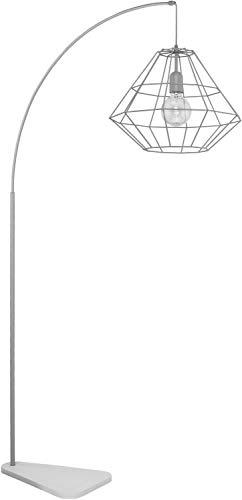 Graue Bogenlampe 179cm Modern Design Metall stylisch DIAMOND Lampe Wohnzimmer Esszimmer Stehlampe Gebogen