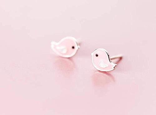 S925 zilveren oorbellen Women'S Han Xiaoqing nieuwe schattige roze vogel oorbellen zoete dierlijke oor sieraden, S925 zilver paar, 925 zilver, EEH A roze