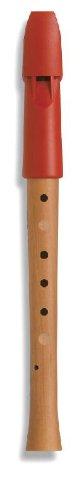 Mollenhauer 1095 Prima Penta Sopran-Blockflöte Pentatonische Griffweise - Kunststoff-Holz-Kombination: Kopf Kunststoff Rot, Unterteil Birnenholz, Natur - Zapfenverbindung mit 2 Gummiringen - Kindergartenflöte