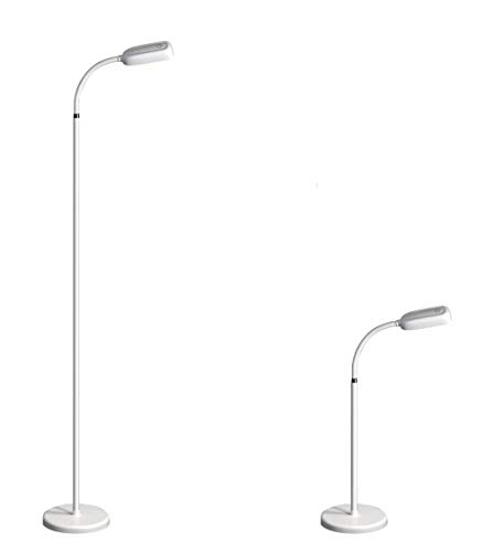 KOZIS Cordless Rechargeable FlexLamp | 2-in-1 Desk Floor | 3 Color Temperatures | Adjustable Gooseneck | Stepless Dimming | Lamp for Piano Craft Bedroom Office Study Reading Camping (White)