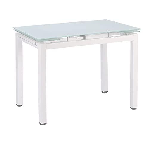 Mesa de Cocina Extensible Perl - Medidas 100/140 x 60 x 76 cm. (Blanco-Blanco)