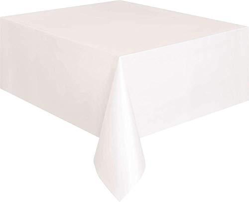 Unique Party 5095 - Mantel de Plástico, Blanco, 2,74 m x 1,37 m