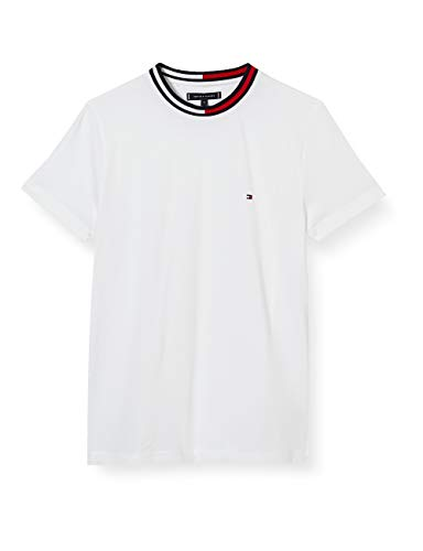 Tommy Hilfiger TH Cool Flag Collar tee Camisa, White, X-Small para Hombre