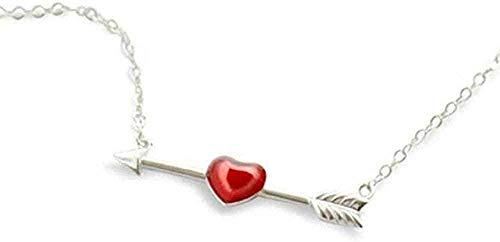 CAISHENY Collar Corazón Collar de Amor a Primera Vista Literatura Fresca Simple Cupido Amor Flecha Regalo de niña