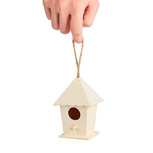 SCDCWW Casa de Aves de Madera con Cuerda Colgante en casa, jardinería, decoración, pequeño, Nido de pájaro, Tipos de pájaros montados en la Pared